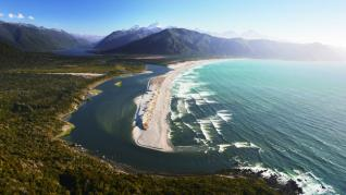 An arial image of the Hollyford Coastal Line